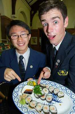 Two  students identify the elusive Higgs Boson captured in their sushi particle accelerator